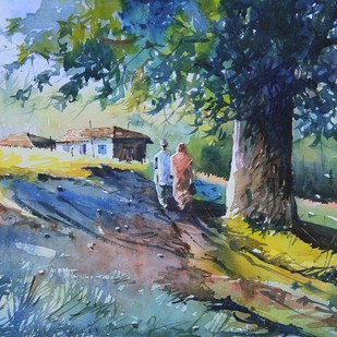 Ghar Vapasi by Mopasang Valath, Impressionism Painting, Watercolor on Paper, Green color