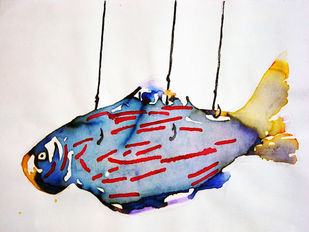 Hanging Fish by Sankar Nag, Impressionism Painting, Mixed Media on Paper, Gray color