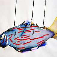 Hanging fish   size   11 x 15 inc   medium   ink on paper  year   2013