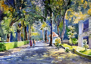 Good Evening by Sunil Linus De, Impressionism Painting, Watercolor on Paper, Green color