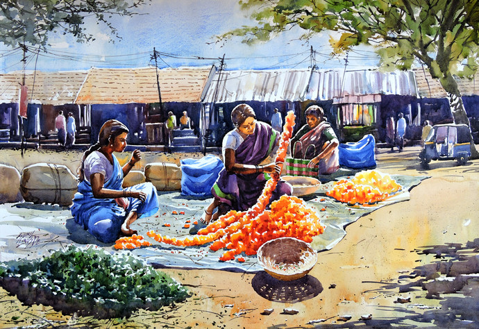 Flower Sellers by Sunil Linus De, Impressionism Painting, Watercolor on Paper, Beige color