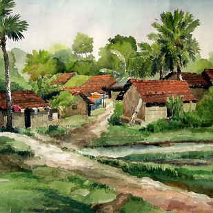 Village Scene by Sankar Nag, Impressionism Painting, Watercolor on Paper, Green color
