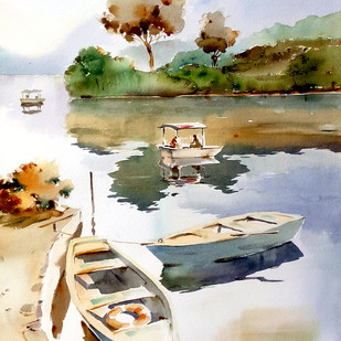 Boats And Reflections by GN Madhu, Impressionism Painting, Watercolor on Paper, Beige color