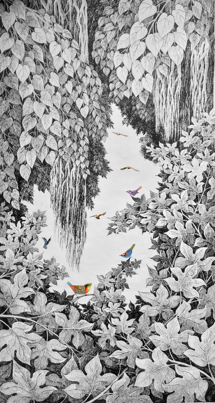 Nature by Umakant Kanade, Illustration Painting, Acrylic & Ink on Canvas, Gray color