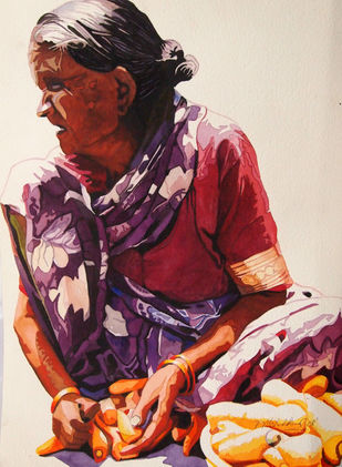 Striving For Another Day by Mahesh Kummar, Impressionism Painting, Watercolor on Paper, Brown color
