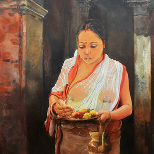 Worshiping God by Satyabrata Karmakar, Realism Painting, Acrylic on Canvas, Brown color