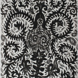 Fauna Flora 1 by Kanchan Chander, Illustration Printmaking, Etching on Paper, Gray color
