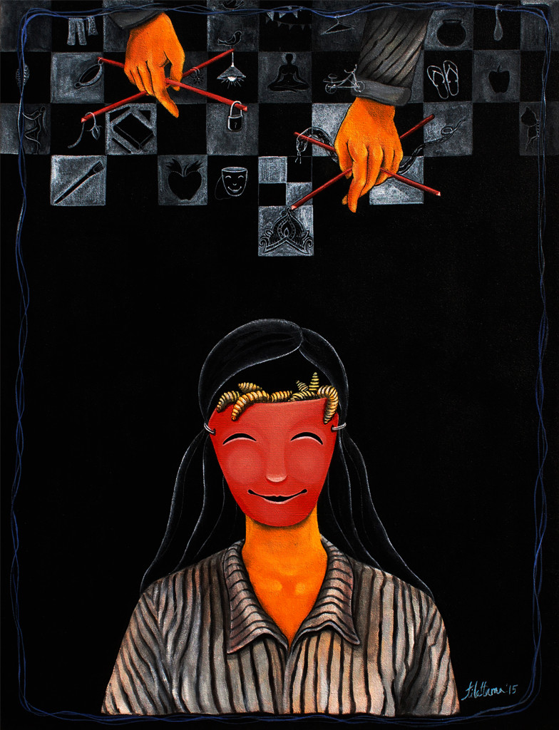 Trifling II by Tilottama Bhowmick, Surrealism Painting, Acrylic on Canvas, Black color