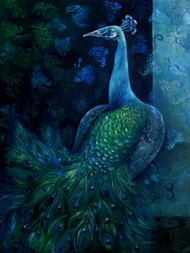 Peacock by Tilottama Bhowmick, Decorative Painting, Oil on Canvas, Blue color