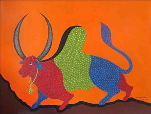 Gond Painting by Unknown Artist, Folk Painting, Acrylic on Paper, Orange color