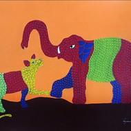Shiv prasad malviya gond11 price 22 000 size 22x30 inches