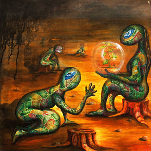 Untitled X by Tilottama Bhowmick, Surrealism Painting, Acrylic on Canvas, Brown color