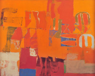 Untitled by John Tun Sein, Abstract Painting, Mixed Media on Canvas, Orange color
