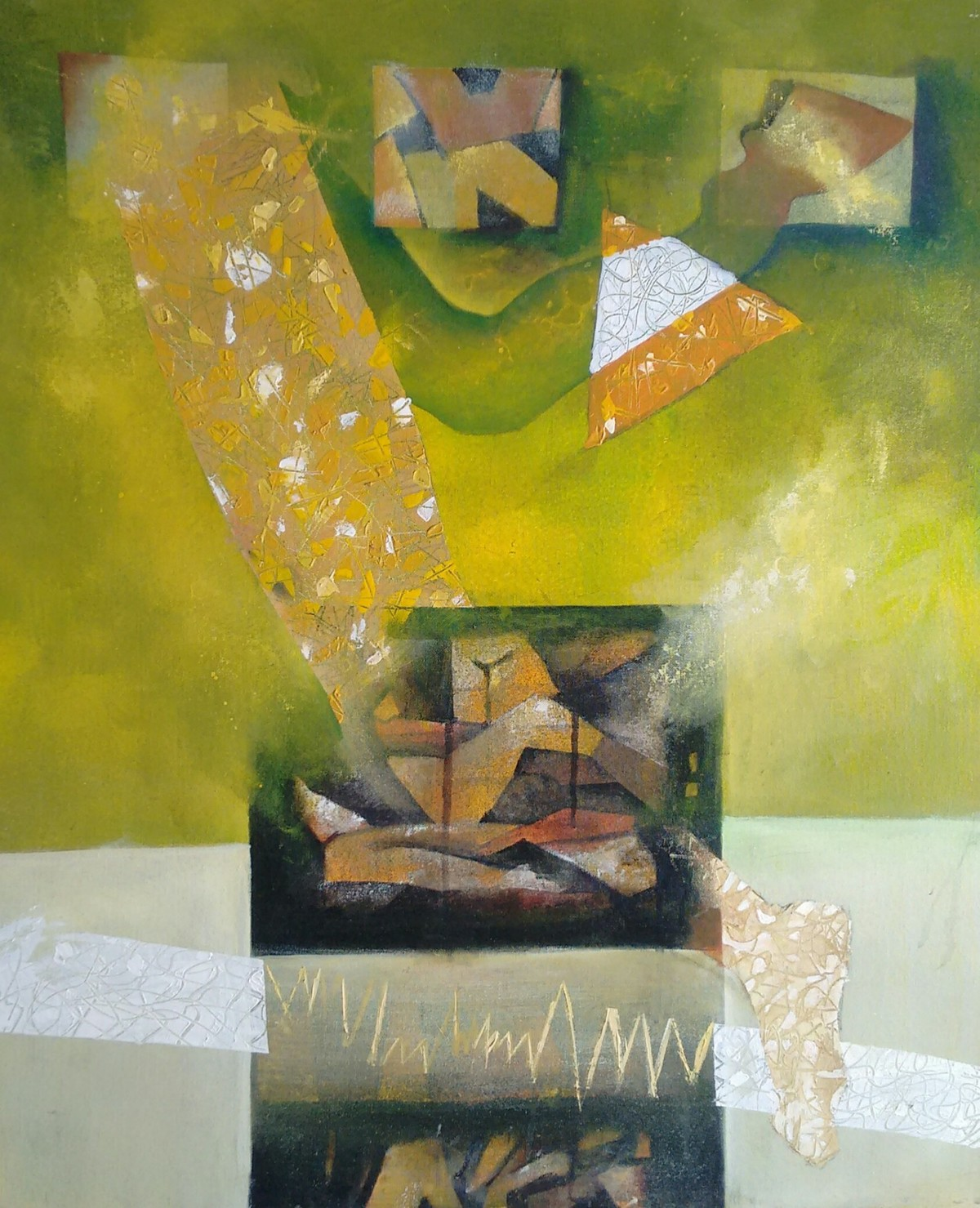 Journey Of Life by Chaitan , Expressionism Painting, Acrylic on Canvas, Green color
