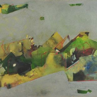 Untitled by Ganesh Haloi, Abstract Painting, Mixed Media on Paper, Beige color