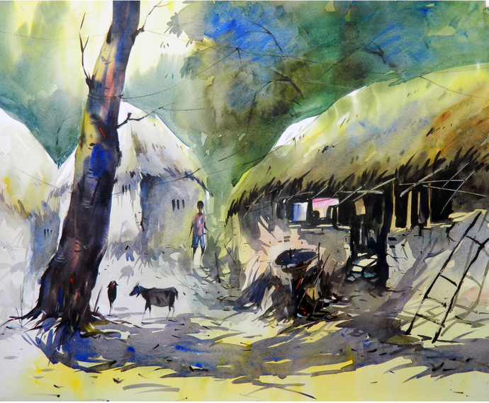 Village by Tanay Singha, Impressionism Painting, Watercolor on Paper, Beige color