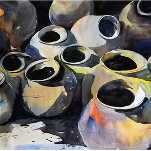Sight Of Composition by Tanay Singha, Impressionism Painting, Watercolor on Paper, Gray color