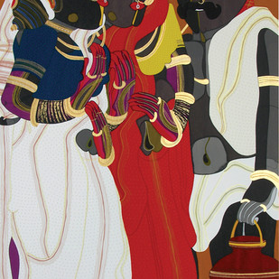 Telangana Peolpe by Thota Vaikuntam, Traditional Serigraph, Serigraph on Paper, Brown color