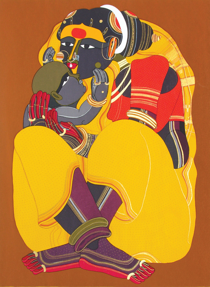 Mother And Child by Thota Vaikuntam, Traditional Serigraph, Serigraph on Paper, Brown color