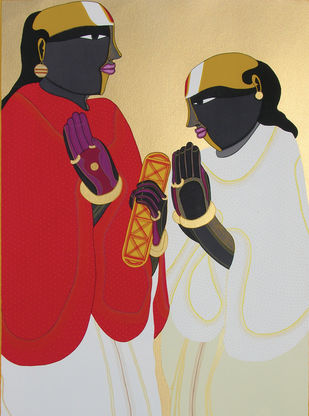 Panditas by Thota Vaikuntam, Traditional Serigraph, Serigraph on Paper, Beige color