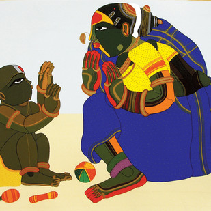 Mother And Child - III by Thota Vaikuntam, Traditional Serigraph, Serigraph on Paper, Gray color