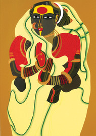 Sugana by Thota Vaikuntam, Traditional Serigraph, Serigraph on Paper, Beige color