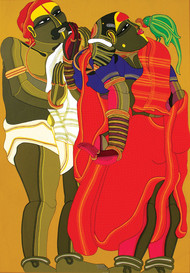 Couple With Parrot by Thota Vaikuntam, Traditional Serigraph, Serigraph on Paper, Red color