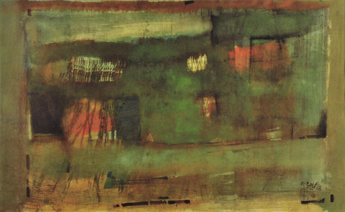 Untitled by Ganesh Haloi, Abstract Serigraph, Serigraph on Paper, Brown color