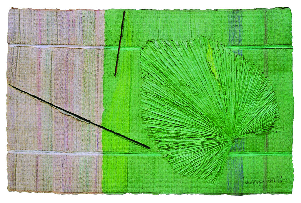 Untitled by Dattatraya Apte, Abstract Painting, Mixed Media on Paper, Green color