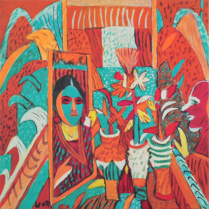 Mirror and pots of flowers by K. G. Subramanyan , Decorative Serigraph, Serigraph on Paper, Brown color