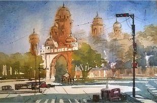 Street by Krishnendu Halder, Impressionism Painting, Watercolor on Paper, Brown color