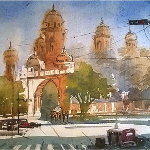 Street by Krishnendu Halder, Impressionism Painting, Watercolor on Paper, Brown color