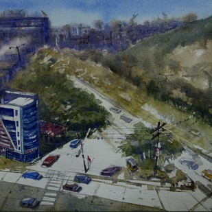 City Scape by Krishnendu Halder, Impressionism Painting, Watercolor on Paper, Green color