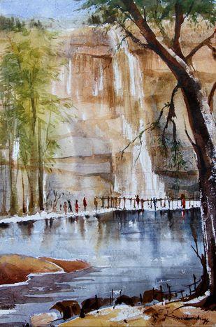 Nature by Krishnendu Halder, Impressionism Painting, Watercolor on Paper, Brown color