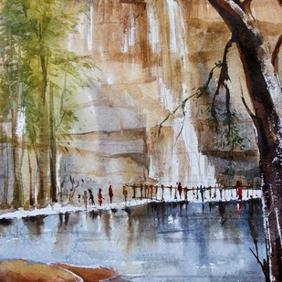 Nature by Krishnendu Halder, Impressionism Painting, Watercolor on Paper, Brown color