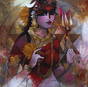 Shakti by Rajeshwar Nyalapalli, Decorative Painting, Acrylic on Canvas, Brown color