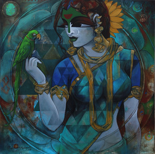 Woman With Parrot 1 by Rajeshwar Nyalapalli, Decorative Painting, Acrylic on Canvas, Green color