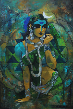 Woman With Parrot 2 by Rajeshwar Nyalapalli, Decorative Painting, Acrylic on Canvas, Green color