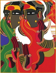 Untitled by Thota Vaikuntam, Traditional Serigraph, Serigraph on Paper, Brown color