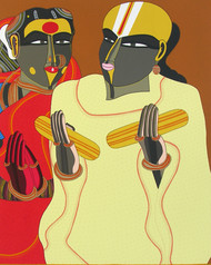 Untitled by Thota Vaikuntam, Traditional Serigraph, Serigraph on Paper, Beige color