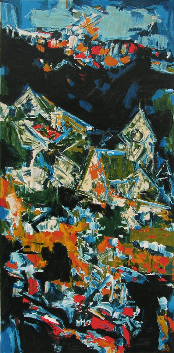 Village by S H Raza, Impressionism Serigraph, Serigraph on Paper, Green color
