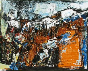 Village by S H Raza, Impressionism Serigraph, Serigraph on Paper, Brown color