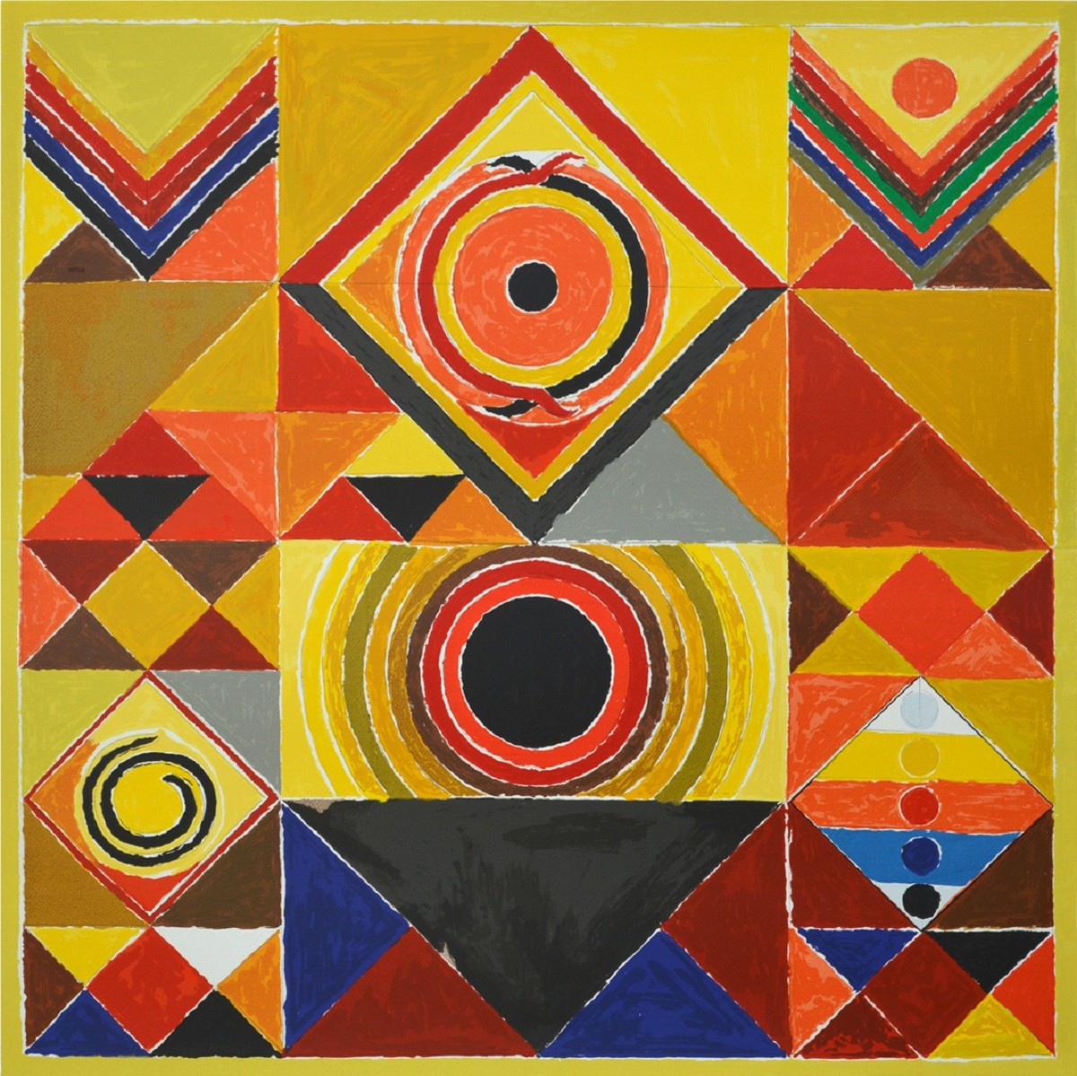Rajasthan by S H Raza, Geometrical Serigraph, Serigraph on Paper, Brown color