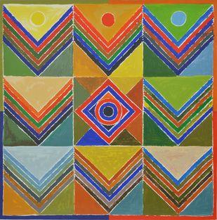 Kriti Prakriti by S H Raza, Geometrical Serigraph, Serigraph on Paper, Brown color