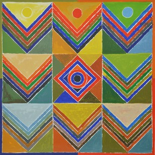 Kriti Prakriti by S H Raza, Geometrical Serigraph, Serigraph on Paper, Brown color