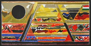 Bharat by S H Raza, Abstract Serigraph, Serigraph on Paper, Brown color