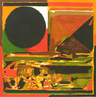 Jaipur by S H Raza, Geometrical Serigraph, Serigraph on Paper, Brown color