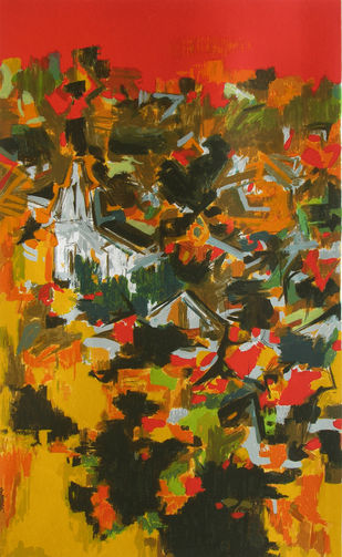 The Village by S H Raza, Abstract Serigraph, Serigraph on Paper, Brown color