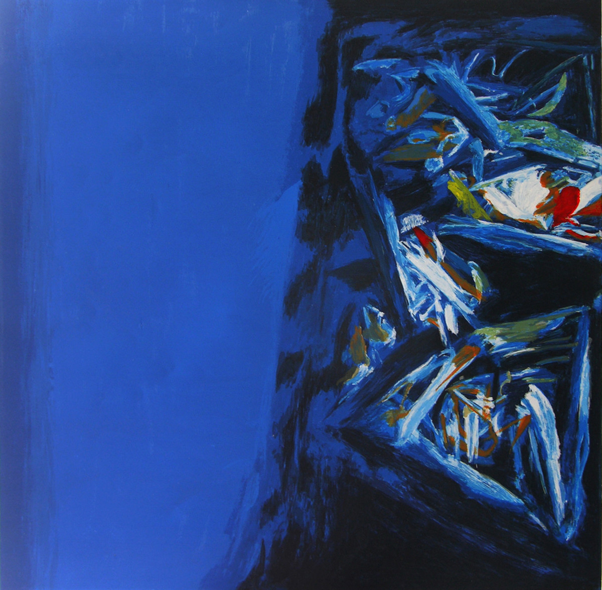 L'Hiver by S H Raza, Abstract Serigraph, Serigraph on Paper, Blue color