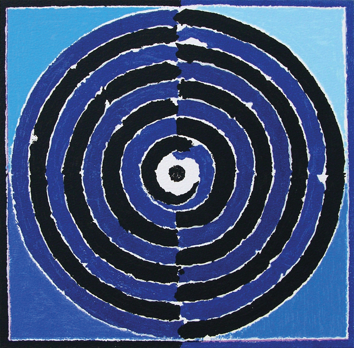Kundalini by S H Raza, Geometrical Serigraph, Serigraph on Paper, Blue color